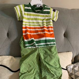 Striped Top and Green Pants Outfit